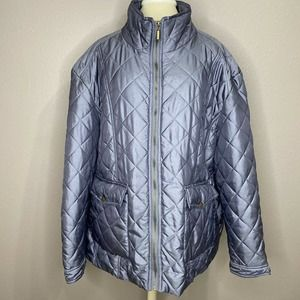 Jane Ashley Silver Quilted Puffer Coat Jacket